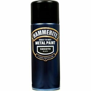 NEW-HAMMERITE-DIRECT-TO-RUST-METAL-PAINT-SMOOTH-BLACK-400ML-5092965