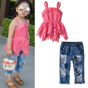 c1e0d1ad5c16 Toddler Kids Baby Girls Lace Tops Dress+Hole Pants Jeans Outfit ...