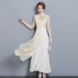 Women-039-s-Chinese-Style-Slim-3-4-Sleeve-Floral-Retro-Long-Qipao-Cheongsam-Dress-US