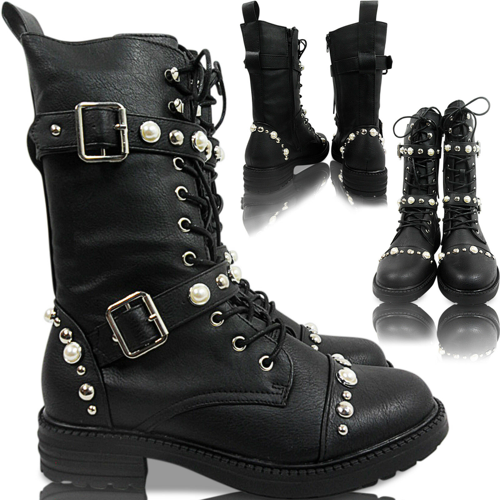 NEW WOMENS LOW HEEL BIKER COMBAT BUCKLE STRAPS LACE UP PEARLS ANKLE BOOTS SIZE