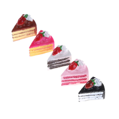 5Pcs Strawberry Cakes Miniature Food Models Dollhouse Accessories BSCA