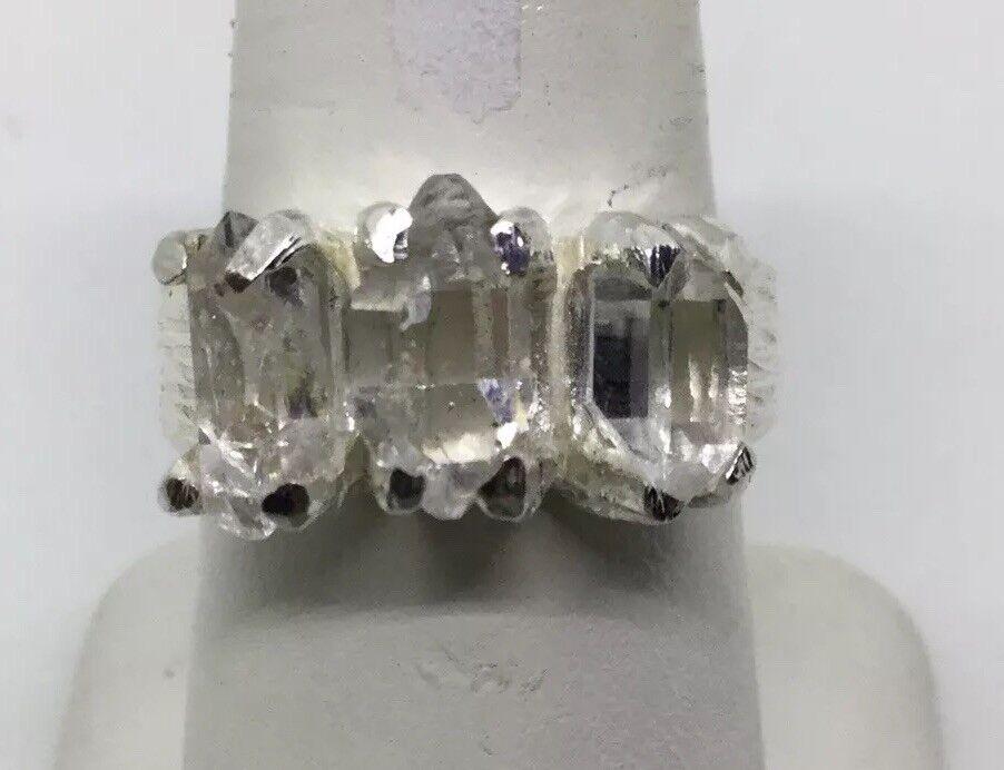 DEB GUYOT HERKIMER DIAMOND QUARTZ TRIPLE STONES STERLING RING (S154)