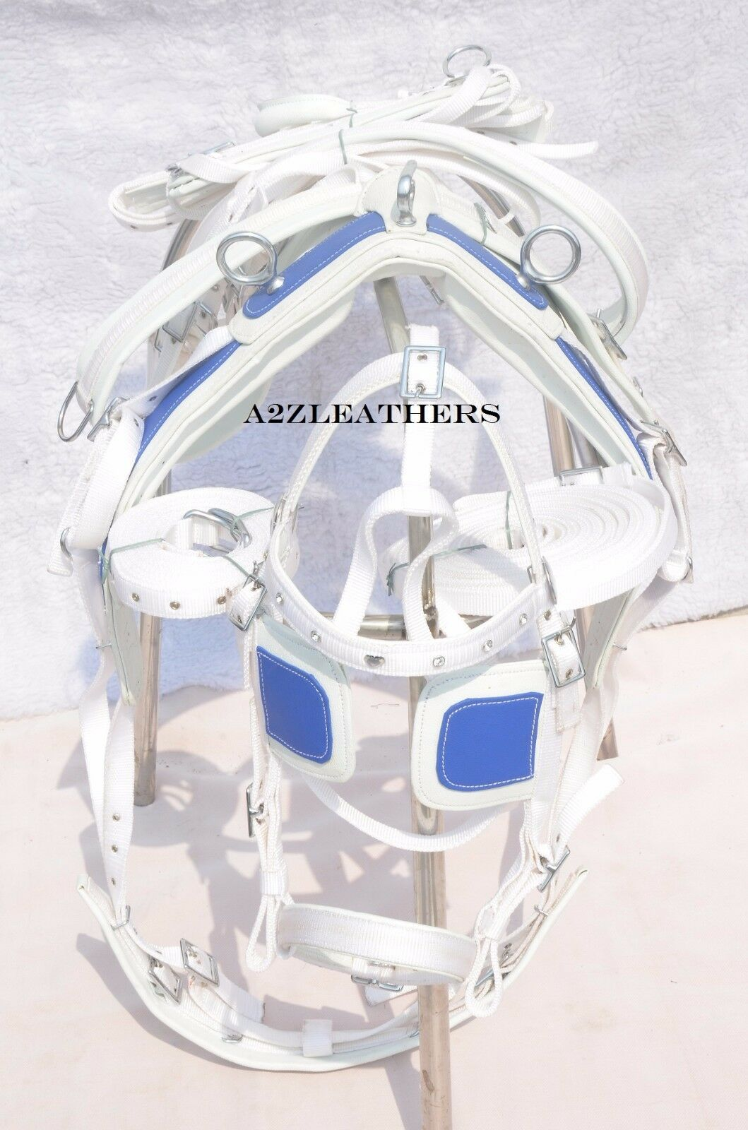 NYLON DRIVING HARNESS FOR  SINGLE HORSE IN WHITE blueE COLOR WITH DESIGNER BRIDLE  free shipping on all orders