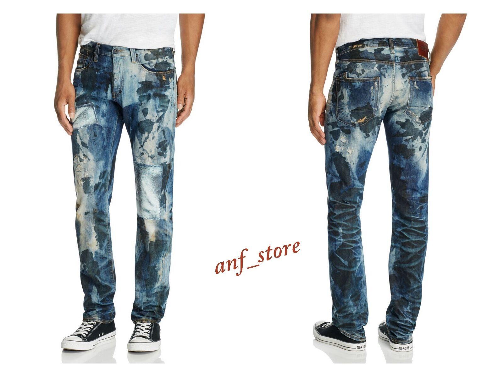 NWT PRPS Goods JAPAN Barracuda Straight Men Jeans 34 x 32 Patchwork Pixel