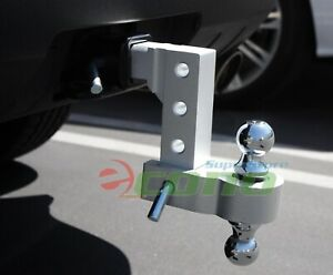 Aluminum-6-034-Drop-Adjustable-Tow-w-Dual-Hitch-Ball-2-034-2-5-16-034-FitTrailer-Receiver