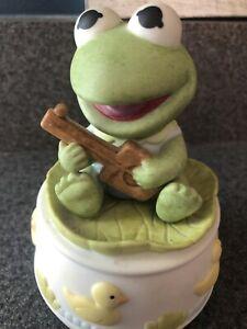 Baby-Kermit-Enesco-Music-Box-Musical-Its-A-Small-World-RARE-Working-No-Box