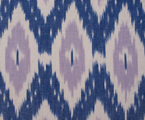 """Hand-Woven Cotton Ikat Drapery Fabric Artisan Shades ofBrown Blue White 44/"""" wide"""