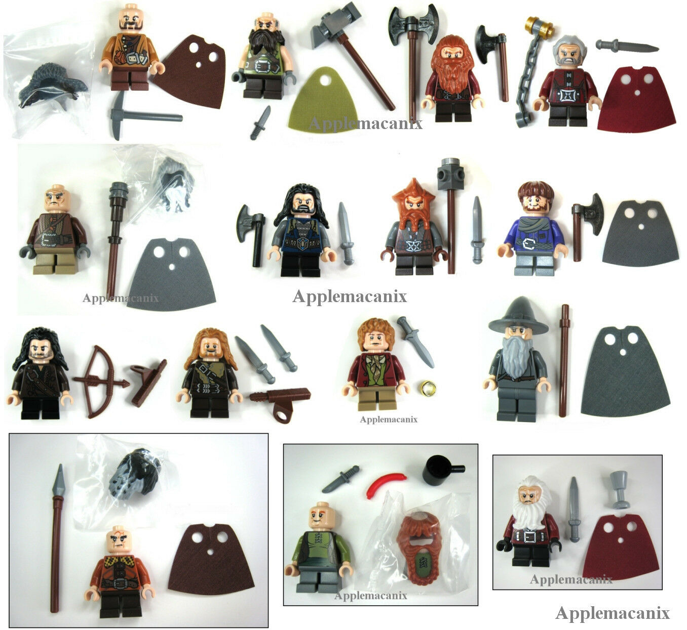 LEGO The Hobbit COMPLETE SET 13 COMPANY OF DWARVES +GANDALF/BILBO Minifigures 15