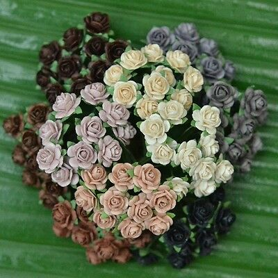 100 Mixed Mini Mulberry Paper Rose Artificial Flowers Neutral Tone Color 10 mm