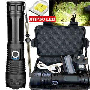 UK High Power 900000Lumens XHP50 Zoom Flashlight LED Rechargeable Torch Headlamp