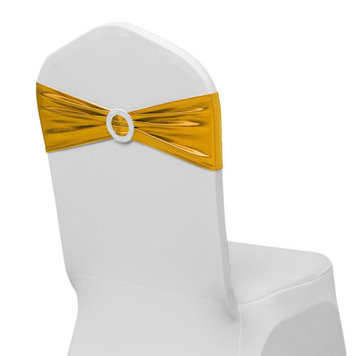 10-100 Shiny Foil Stretch Chair Sash Wedding Party Spandex Cover Band Buckle Bow