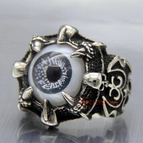 Para hombres De colección de motorista Dragon Claw Malvado Diablo Anillo Acero Inoxidable Calavera De Ojos Negro