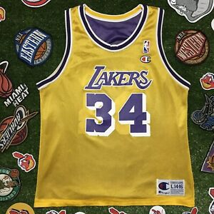 CHAMPION Lakers Shaquille O'Neal Reversible NBA Basketball Jersey ...