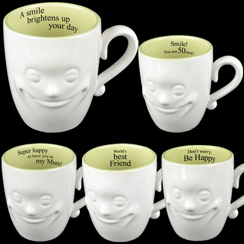 SMILING FACE MUG TEA COFFEE FINE CHINA CERAMIC MUGS GIFT SET NOVELTY NEW 3D XMAS