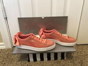BowSize Sneakers Back 5 Block Details Pink About Bow Satin Puma Suede Women's 8 Basket 5cj4RLq3AS