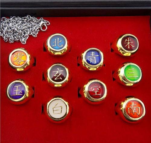 Anime Naruto Akatsuki 10 Rings Sets And Necklace With Box Cosplay Gift