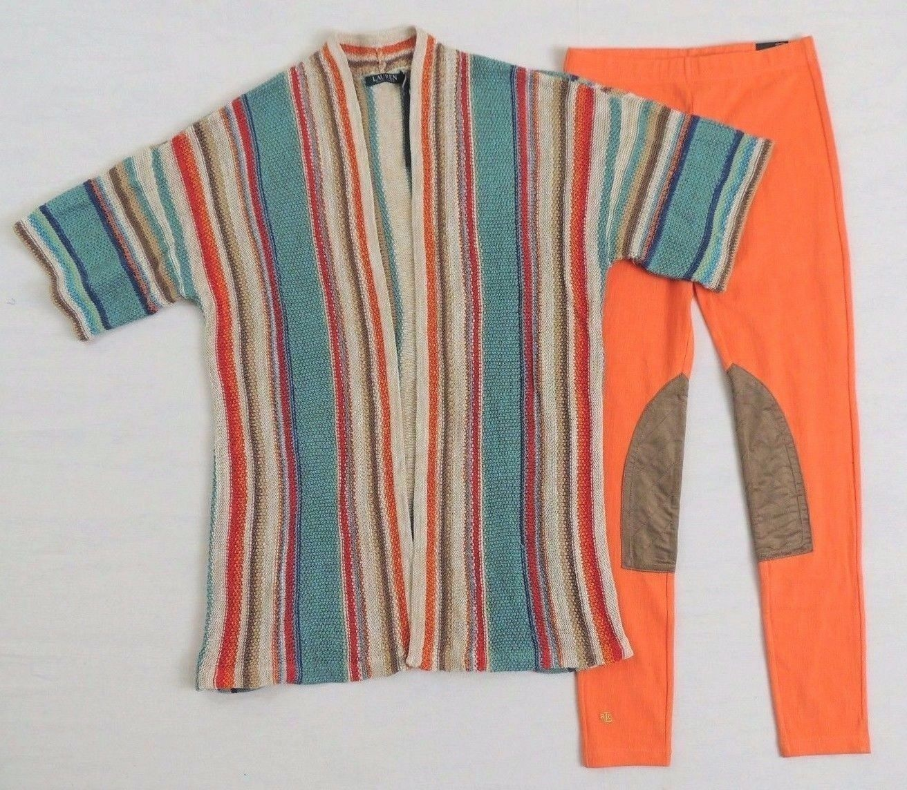 Ralph Lauren Indian Serape Navajo Linen Striped Sweater Cardigan Coat Petit