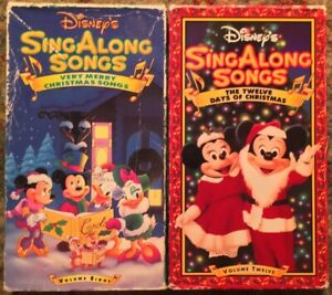 """Disney Christmas Sing Along Songs - """"Very Merry"""" & """"12 Days Of"""" VHS Lot Of 2 