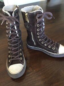 separation shoes 41428 67d4a Details zu Converse Stiefel 13 Lederschuhe Braun 31 Wildleder *N XHI Schuhe  Leder All Star