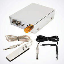 Silver Starter Tattoo Power Supply Unit Equipment w/ Clip Cord Foot Pedal Switch