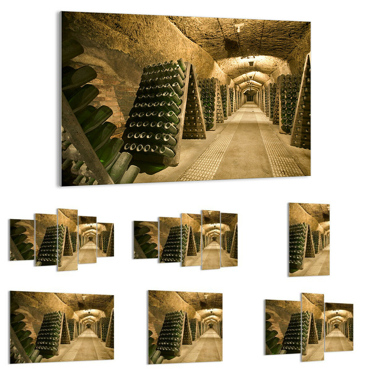 GLASS PRINTS Image Wall Art Wine cellar bottles basement 0366 UK