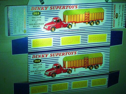DINKY TOYS 1959 REPLIQUE  BOITE CAMION WILLEME SEMI REMORQUE BACHE