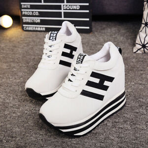 Womens-Platform-Sneakers-Lace-Up-High-Wedge-Fashion-Comfort-Shoes-Sizes-Hot