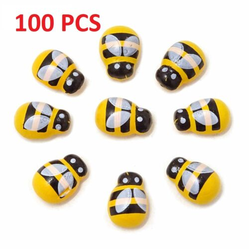 Flatback Self Adhesive Tiny Wooden Bee Embellishments for Bee Theme Bridal Showe