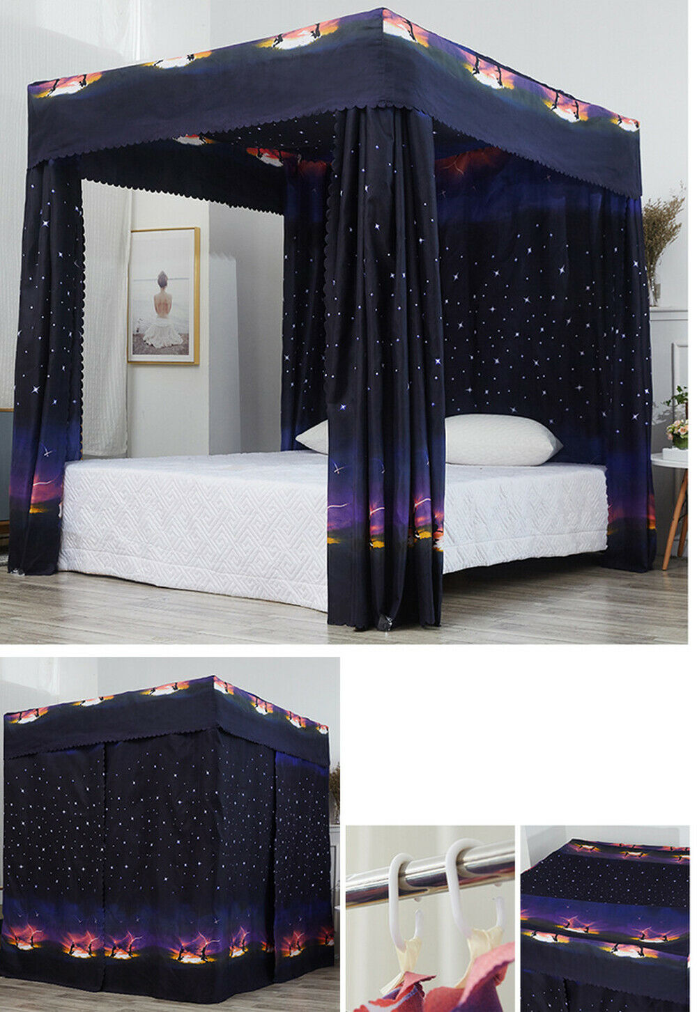 New Galaxy Star Four Corner Post Bed Light Shading Curtain Canopy Mosquito Net