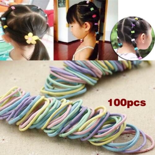 100pcs Elastic Rope Multicolor Baby Girl Kids Tiny Hair Bands Headwear Ropes BT