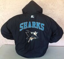 Vintage San Jose Sharks NHL Starter Puffy Hoodie Jacket Sz XL Blockhead