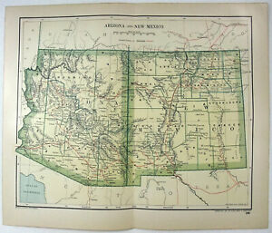 Details about Original 1895 Map of Arizona & New Mexico by Dodd Mead &  Company. Antique