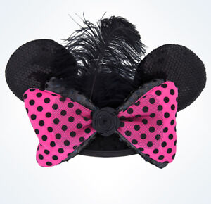 Couture-Minnie-Mouse-Ear-Hat-Cap-Head-Pink-Black-Polka-Dot-Bow-Sequin-Disney-NEW