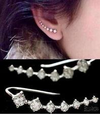 18K White Gold Plated Crystal Rhinestone Hook Wrap Ear Cuff Stud Earrings UK 133
