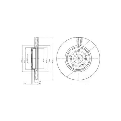 BG3978 Genuine Delphi Front Vented Brake Discs Set Pair