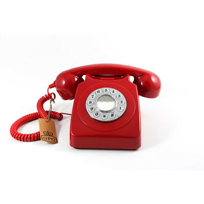 Retro GPO 746 Push Button Dial Telephone Vintage Style Phone  - Red