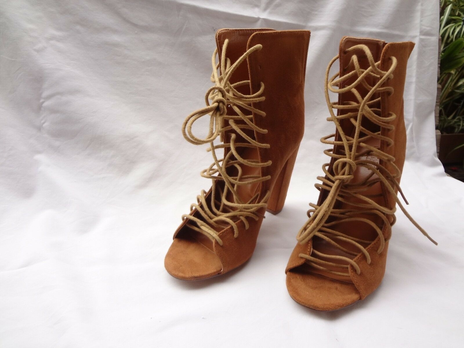 CHARLOTTE RUSSE CORSET LACE UP Peep Toe ANKLE BOOT Chunky Heel BROWN SIZE 9 MED