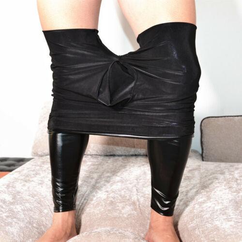 PU Hose Kunstleder Glanz Leggings Herren Wetlook Lang Unterhose Party Clubwear