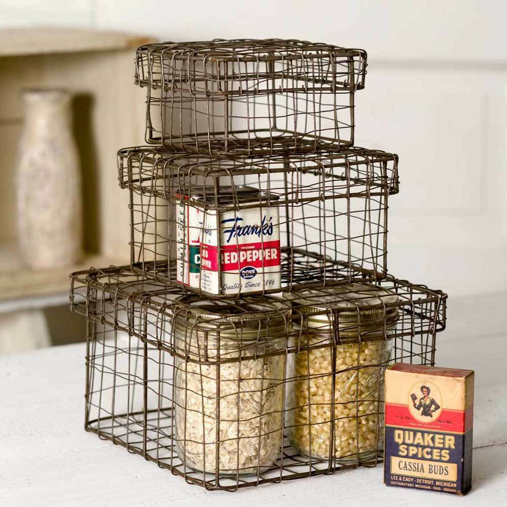 Farmhouse SET OF THREE(3) NESTING WIRE BOXES BASKETS Rustic Country Primitive