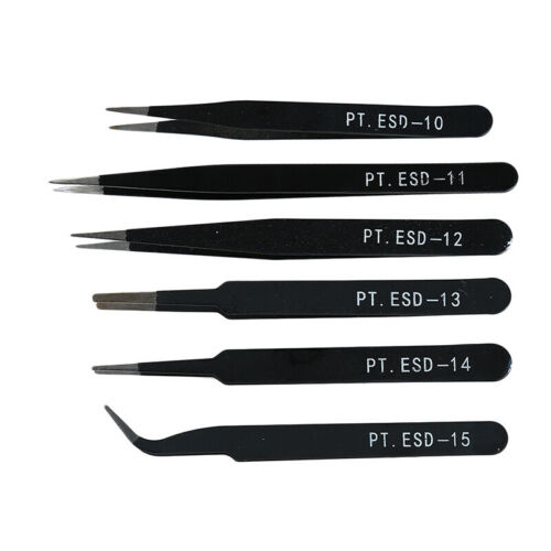 Anti-static Curved Straight Tip Forceps Precision Soldering Tweezers Set DD