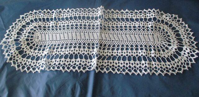 Läufer gehäkelt ca 79 cm x 30 cm Handarbeit Baumwolle weiß
