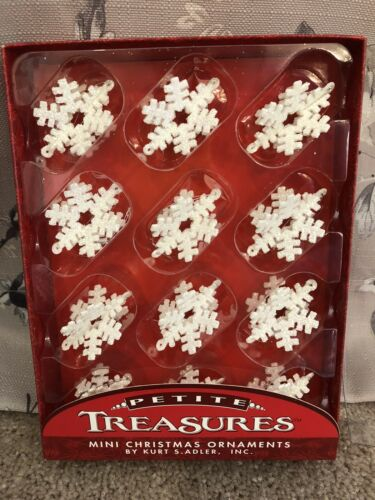 "Kurt S Adler 1.75"" 3-Dimen Glitter Snowflakes Petite Treasures Mini 12 Pieces"