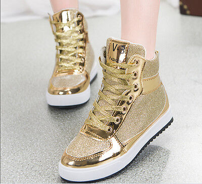 Womens Leather Sequins Lace Up High-top Lace Up Sneakers Running Jogging Shoes