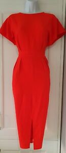 Womens-Asos-Red-Orange-Open-Back-Crepe-Kimono-Sleeves-Formal-Work-Pencil-Dress-8