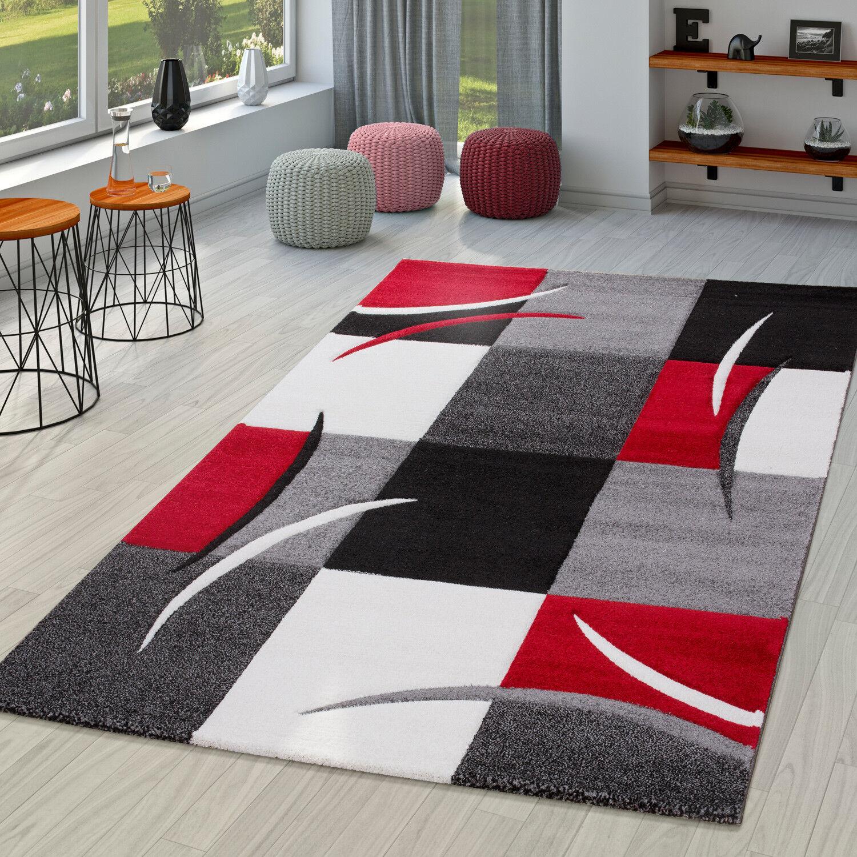 Teppich Wohnzimmer Modern Palermo Mit Konturenschnitt Rot In Grau