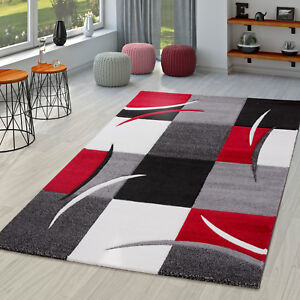 Teppich Wohnzimmer Modern Palermo mit Konturenschnitt in Grau Rot ...