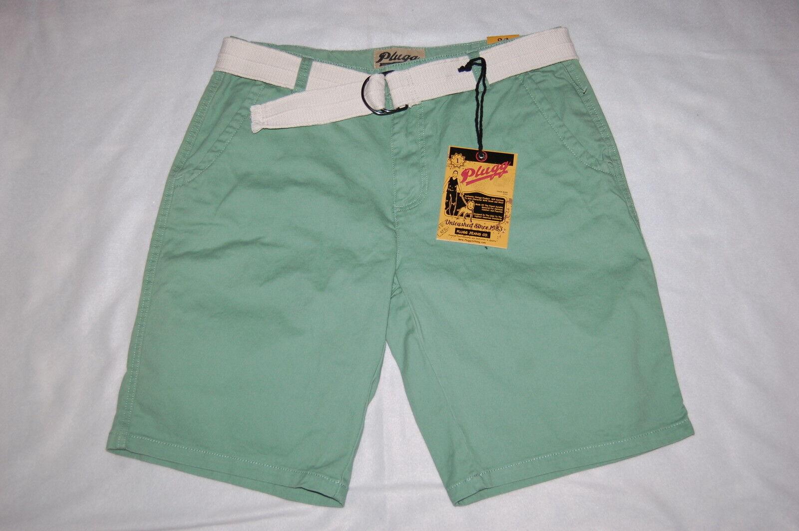 Mens SAGE GREEN DENIM SHORTS Off White Belt DRESSY CASUAL Tailored Pkts SIZE 36