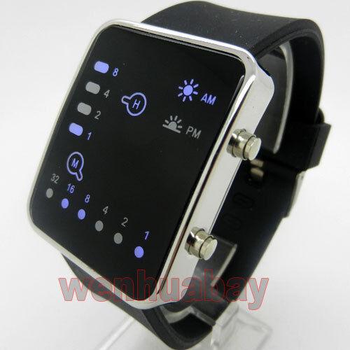 NEW Blue LED Binary Watch Black Silicone Band Boy Girl Mens Womens Sports Gift
