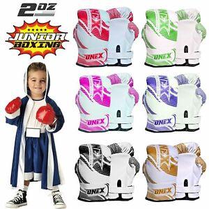 Kids-2oz-Boxing-Gloves-Junior-Sparring-Mitt-Fight-Punch-Bag-Children-Gel-Pad-1X