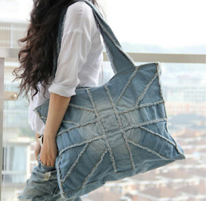 Image Is Loading Womens Denim Jeans Handbag Ripped Out Notes Bags